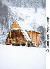 madeira, casa, Inverno