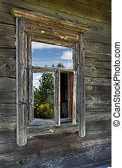 madeira, casa, Janela, antigas