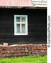 madeira, casa, Janela