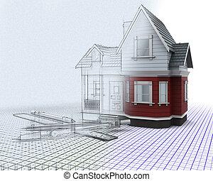 madeira, casa, metade, sketched