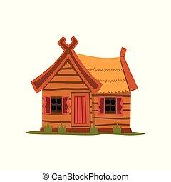 madeira, casa rural, tradicional, eco, vetorial, ilustração, fundo, casa, branca
