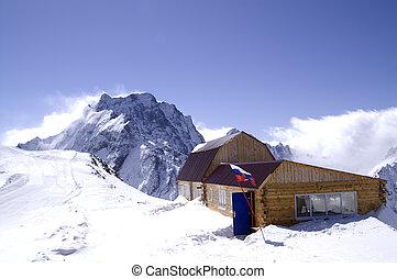 madeira, casas, em, alto, montanhas., refúgio esqui