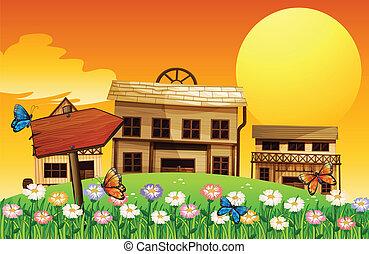 madeira, casas, seta