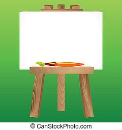 madeira, cavalete, lona, pincel
