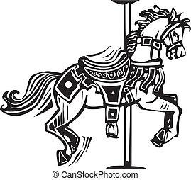 madeira, cavalo carrossel