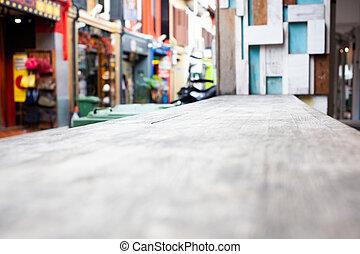 madeira, cena, obscurecido, rua, fundo, tabela