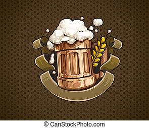 madeira, cerveja assalta, com, e, espuma