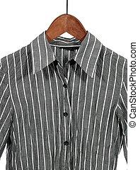 madeira, cinzento, listrado, cabide, camisa