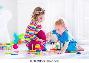 madeira,  cjildren, tocando, brinquedos