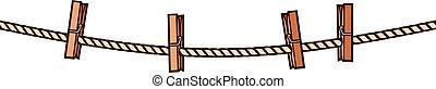 madeira, clothespins, ligado, corda, vetorial, ilustração