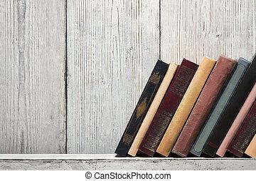 madeira, conceito, antigas, conhecimento, prateleira, espinhas, ligando, textura, fundo, levantar, livro branco, vazio