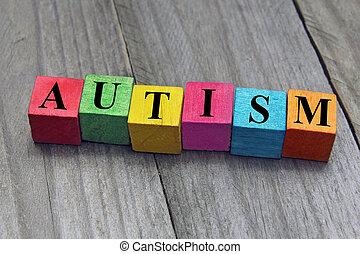 madeira, conceito, palavra, autism, cubos