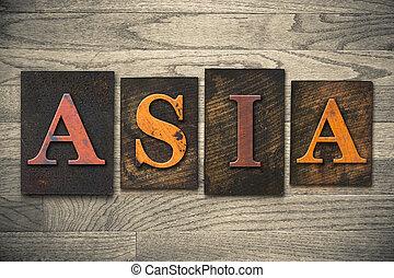 madeira, conceito, tipo,  Ásia,  Letterpress