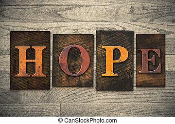 madeira, conceito, tipo, esperança, letterpress