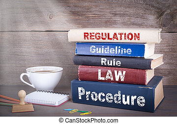 madeira, concept., regulamento, livros, escrivaninha, pilha