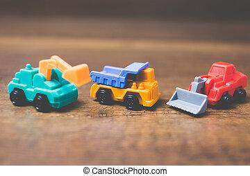 madeira, construção, brinquedo, maquinaria, fundo