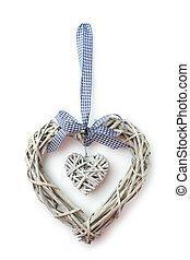 madeira, coração, decoração, isolado, branco