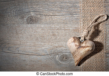 madeira, coração, esculpido