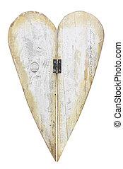 madeira, coração, isolado, branco, fundo