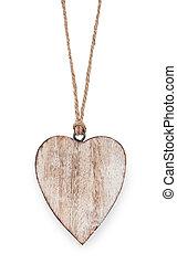 madeira, coração, isolado, ligado, um, fundo branco