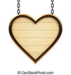 madeira, coração, signboard, corrente