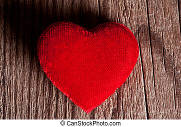 madeira, Coração, vermelho, fundo