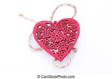 madeira, coração vermelho, isolado, branco, fundo