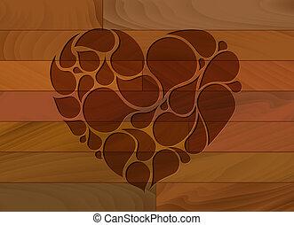 madeira, coração, vetorial, fundo