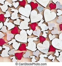 madeira, corações, coelhinhos, páscoa, fundo