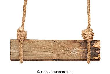 madeira, corda, sinal, penduradas, em branco