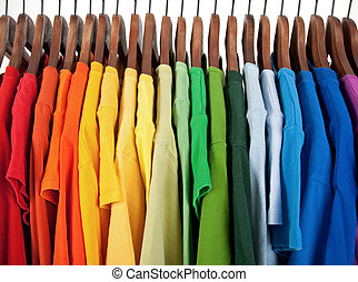 madeira, cores, cabides, arco íris, roupas