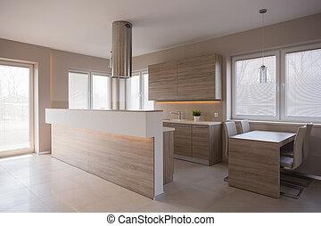 madeira, cozinha, em, luxo, casa