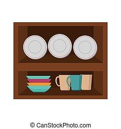 madeira, cozinha, mobília