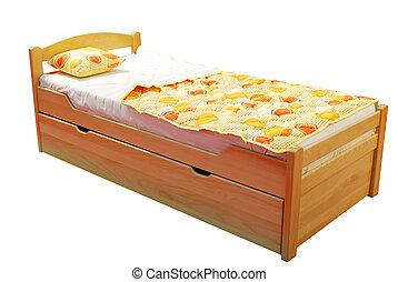 madeira, crianças, cama