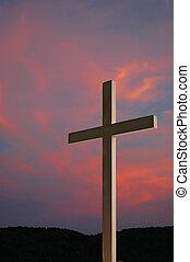 madeira, crucifixos, e, pôr do sol
