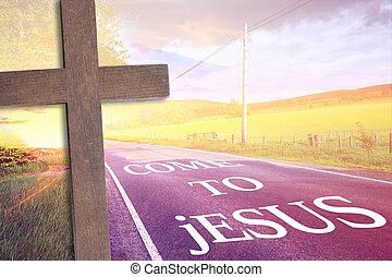 madeira, crucifixos, e, um, estrada, para, jesus