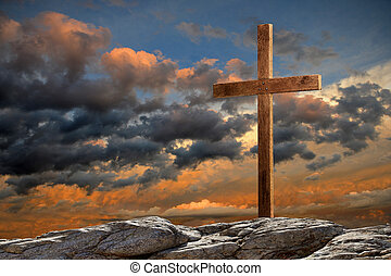 madeira, crucifixos, em, pôr do sol
