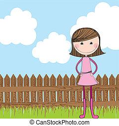 madeira, cute, menina, cerca