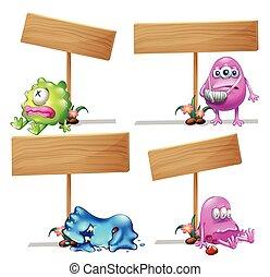madeira, cute, monstros, quatro, sinais