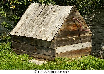 madeira, desenhar, poço, em, polônia