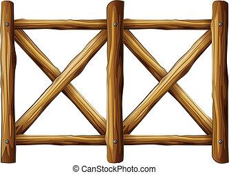 madeira, desenho, cerca