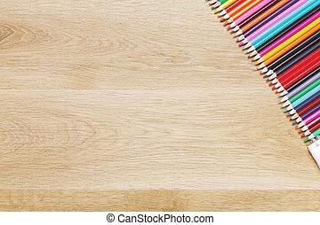 madeira, desktop, com, lápis