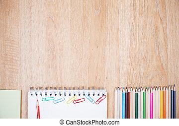 madeira, desktop, com, materiais