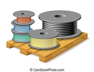 madeira, diferente, pallet., cabos