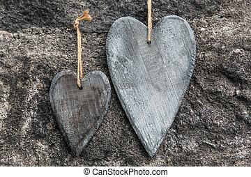 madeira, dois, fundo, frente, corações, pedregoso