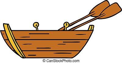 madeira, doodle, caricatura, bote
