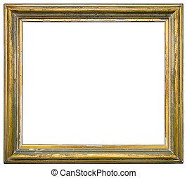 madeira, dourado, quadro