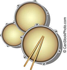 madeira, drumsticks, par, tambores