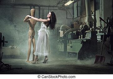 madeira, dummy, danças, mulher, beleza