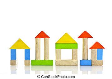 madeira, edifícios, blocos